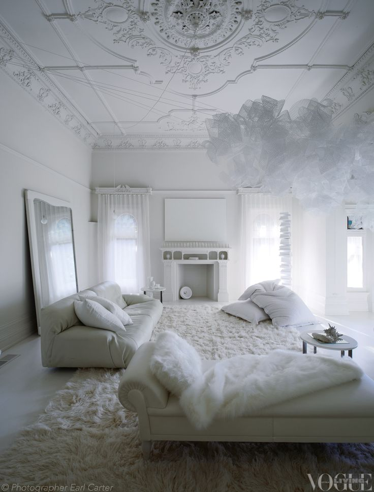 An all-white room inside Melbourne's Red Court mansion. From 'Holding Court', a story on page 146 of Vogue Living Septembe...