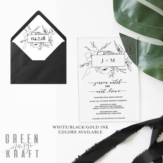 Transparent Floral Acrylic WEDDING INVITATION black white gold clear botanical minimal modern line calligraphy envelope liner invite