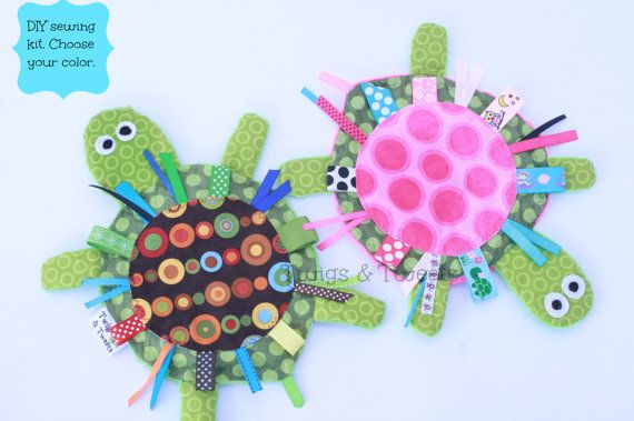 Do it yourself, DIY yertle the turtle crinkle crackle pattern/kit toy for babies