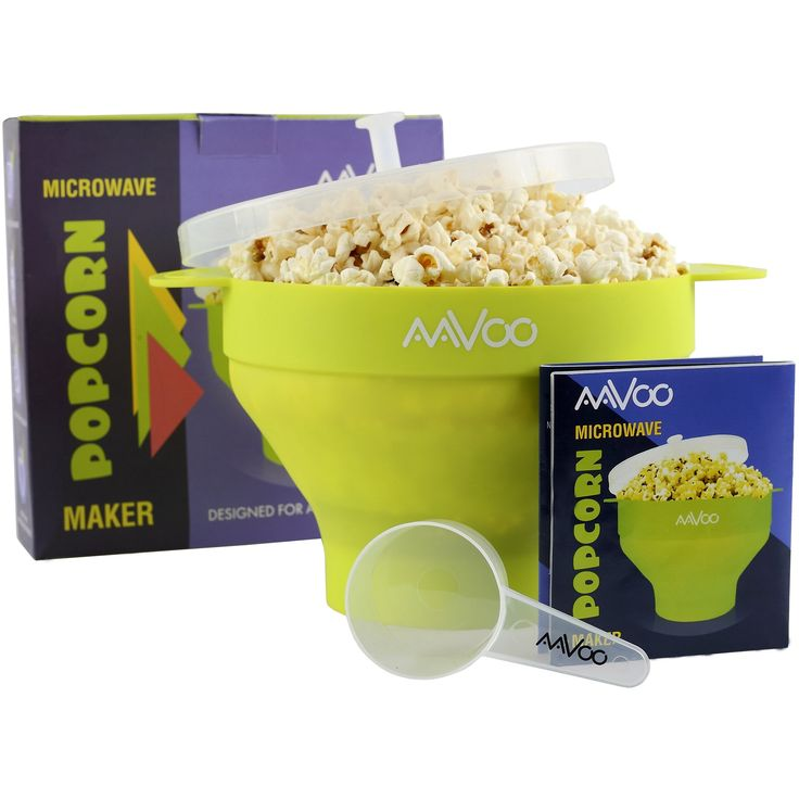 AAVOO Microwave Popcorn Popper - Premium Silicone LFGB Popcorn Maker, BPA PVC Free - Hot Air Popcorn Bowl with Lid and Handles for Your Safety - Measuring Spoon and Recipes Included