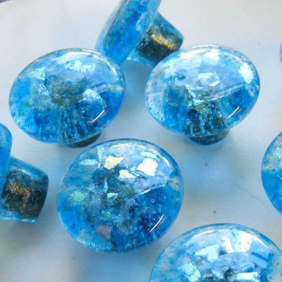 Buy Ocean Blue fused glass cabinet hardware knobs pulls handles