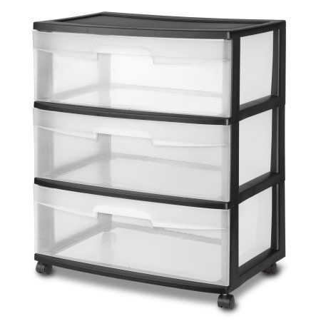 Pics On Sterilite Wide Drawer Cart Case of Black