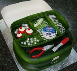 GROOM'S CAKE:  fishing tackle box groom's cake
