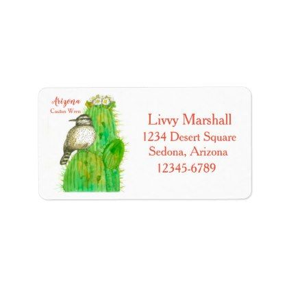 State Bird of Arizona Cactus Wren Return Address Label - labels customize diy cyo personalize
