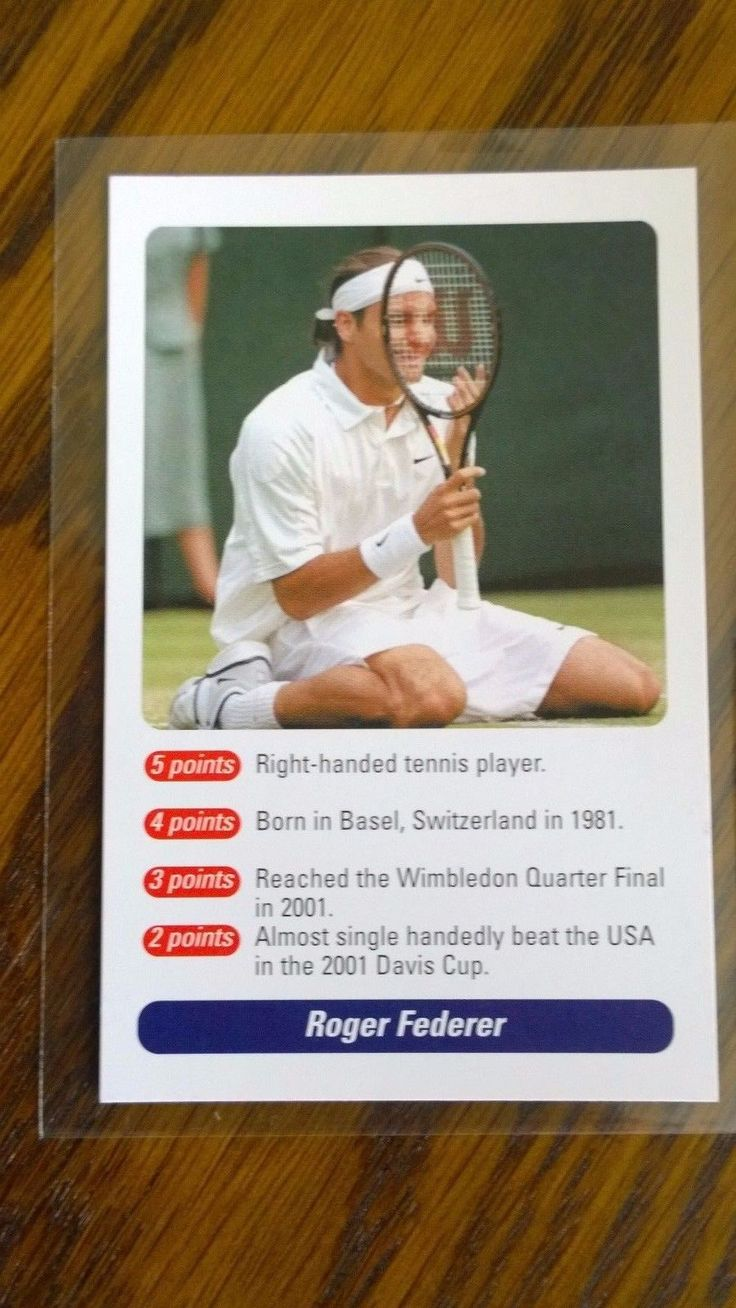 Roger Federer ROOKIE Card - A Question of Sport 2002 - MINT Condition