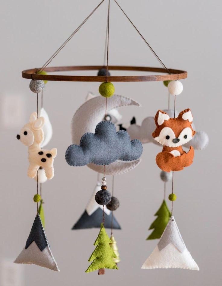 Woodland Mobile / Woodland Animal Nursery / Felt Mobile / Mountain Nursery / Felt Moon / Nursery Decor / Scandinavian Decor / Felt Cloud  – Remodeling Creative Ideas