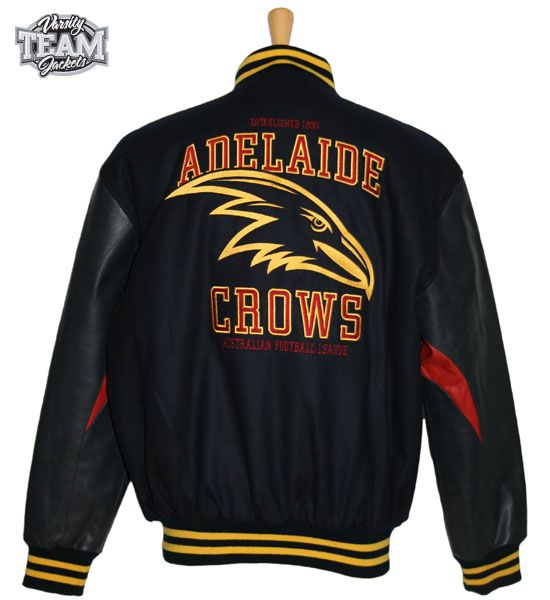 Adelaide Crows AFL wool body and leather sleeves embroidered varsity jacket back by Team Varsity Jackets. www.facebook.com/TeamVarsityJackets  www.teamvarsityjackets.com.au