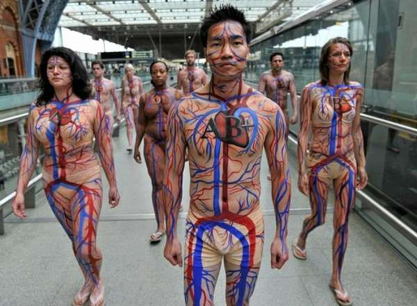 Inside-Out Body Campaigns -  The National Health Service's Donation Stunt is Bloody Brilliant #marketing #artdesign #giveblood #socialgood #anatomy #bizarre #publicitystunts #pr #publicrelations #ads #advertising