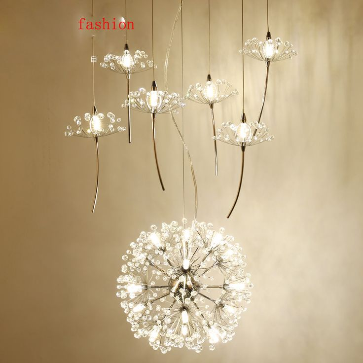 Z Northern Europe Crystal Chandelier Dandelion Shape Design Compound Floor Ceiling Fan Couture Restaurant Light Lighting Fixture