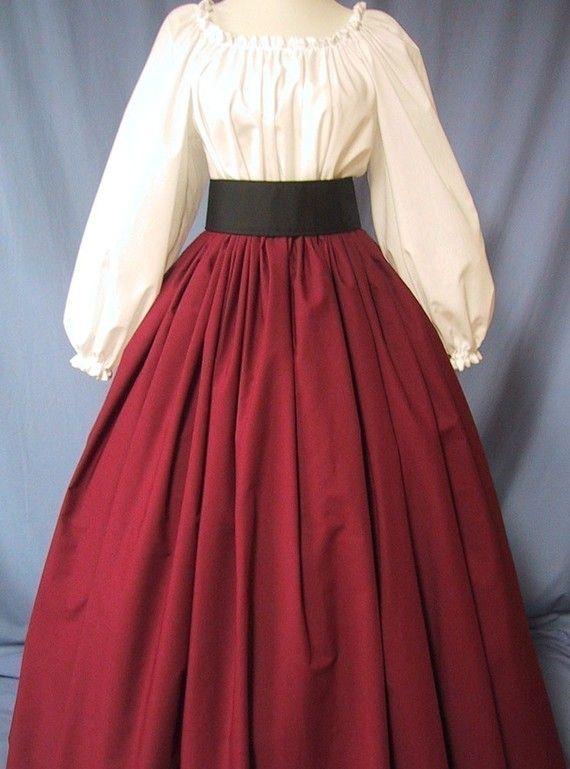 Long Skirt for Costume in Burgundy - RenFaire Costume - Pirate Wench - Renaissance Faire - Dickens - Civil War Reenactment - Handmade