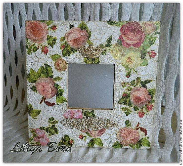 """Купить Зеркало """"Английские розы"""" - зеркало, прихожая, розы, подарок, хендмейд, авторская работа"""