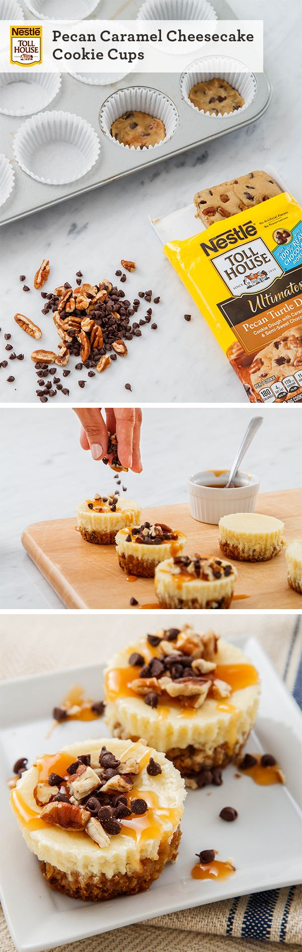 Pecan Caramel Cheesecake Cookie Cups will add a fun, and tasty spin to your Thanksgiving table. Baked Pecan Turtle cookie dough, topped with cheesecake and sprinkled with mini chocolate chips, make for a delicious, bite-sized dessert.
