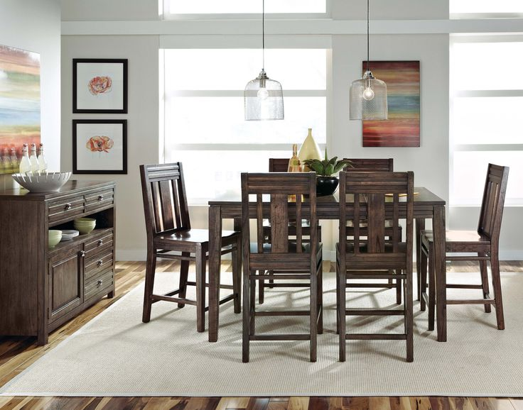 Kincaid Montreat Tall Dining Table Set In Graphite