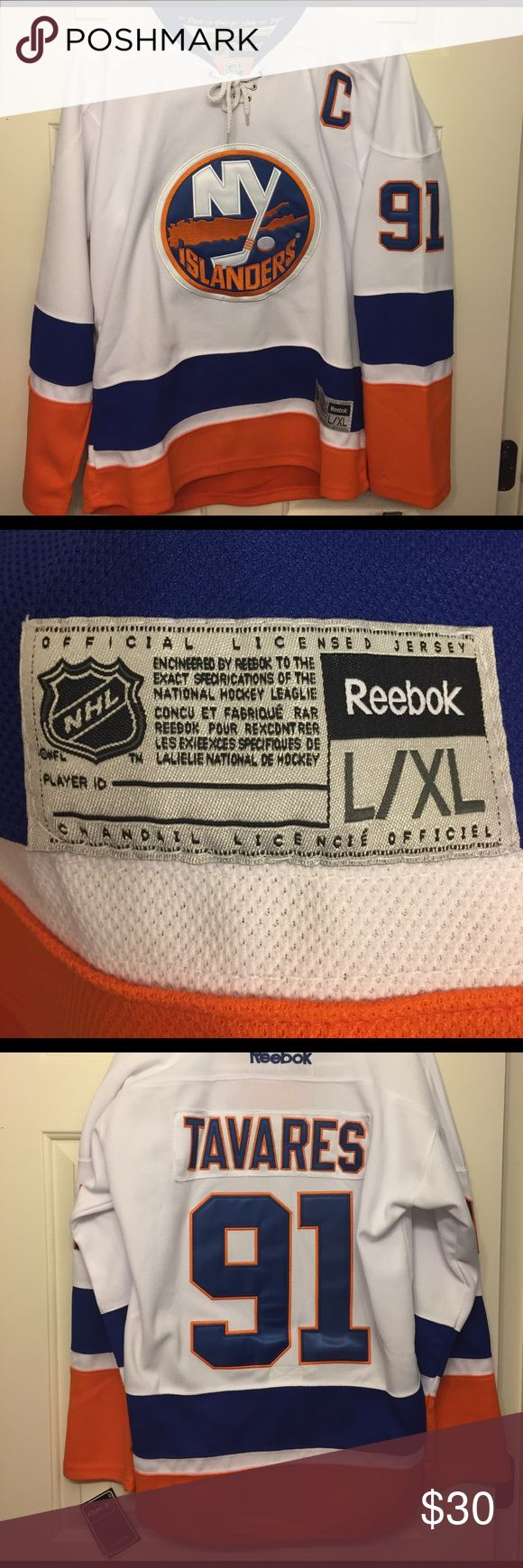 Youth L/XL John Tavares Hockey Jersey White New York Islanders John Tavares YOUTH L / XL NHL Hockey Jersey. **NEW WITH TAGS** Reebok Accessories