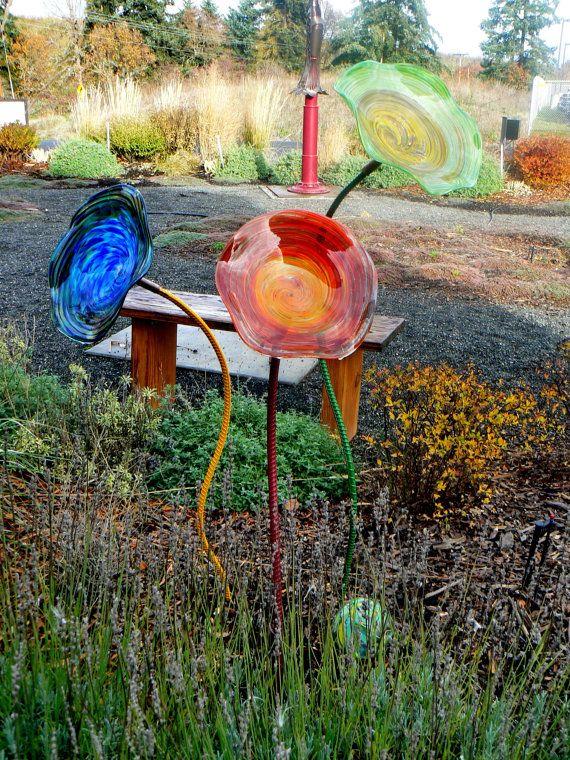 Glass Garden Flower Outdoor Garden Art Hand Blown By