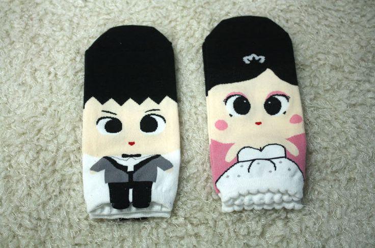 New unisex Character Socks_wedding couple two pairs set_Groom & Bride set…