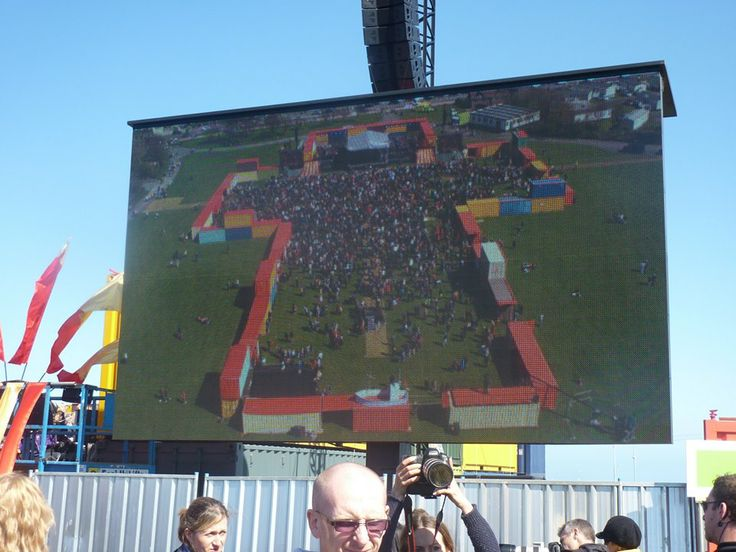 The big screens showed the people gathered at Bents Park, what people at home watching live on TV were seeing.  Impressive shot of the gathered crowds inside the giant cross installation of shipping containers at BBC's Great North Passion.