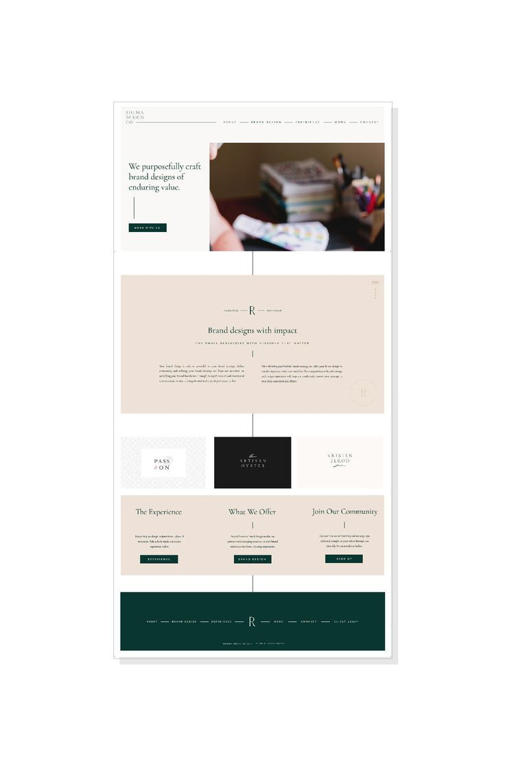The New Website For Rhema Design Co The Homepage Serves As A Jumping Off Point For All The Other Pages You Can Find A Quick S Footer Design Portfolio Web Design