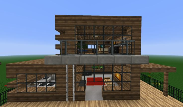 Minecraft Wooden Modern House Google Search Minecraft
