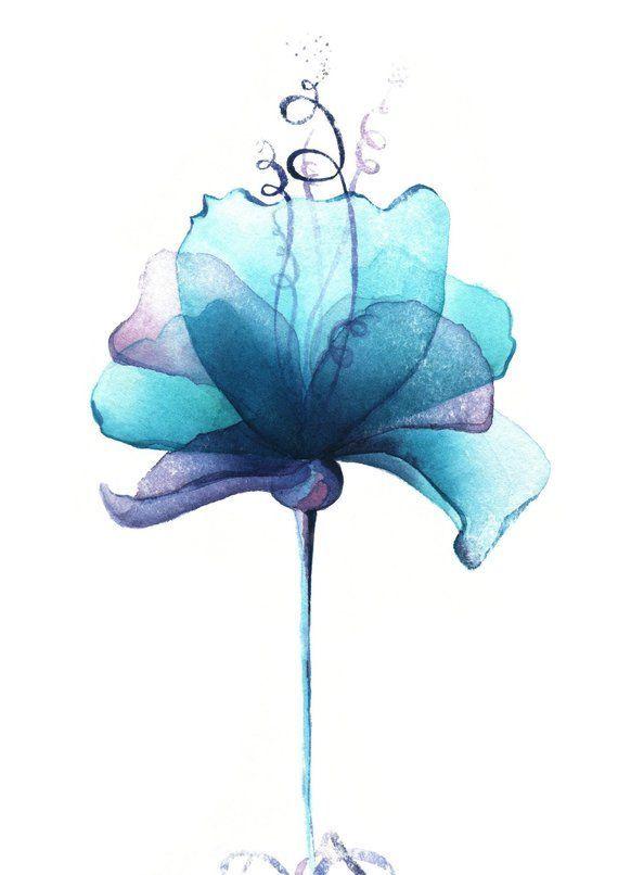 Blaue magische Mohnblumenblumenillustration des Aquarells. Malerei digitales Pla… – Mel