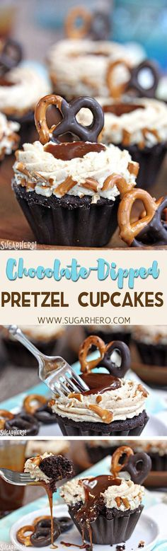 These delicious Chocolate-Dipped Pretzel Cupcakes have a moist chocolate cake, sweet-and-salty pretzel frosting, and a scoop of salted caramel in the center! | From http://SugarHero.com