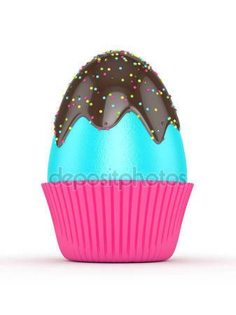 3d rendering of Easter egg with chocolate glaze and sprinkles — Stock Photo © ayo888 #141496296