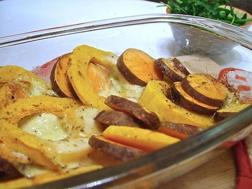 5 or less: Ovenschotel met zoete aardappel en pompoen