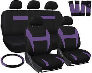 Car Seat Covers for Honda Civic Purple & Black Steering Wheel/Belt Pad/Head Rest
