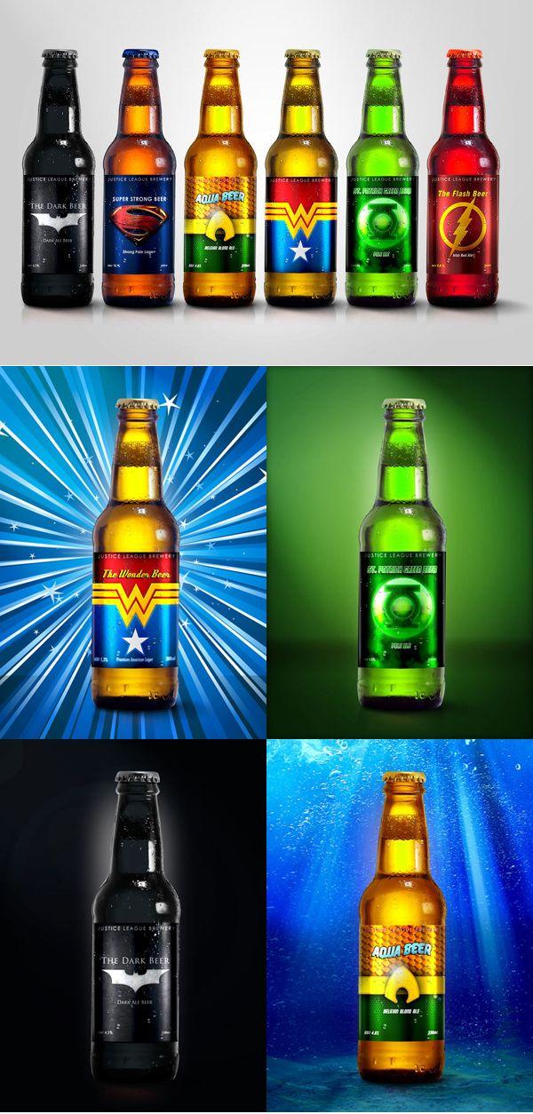 Super Hero Beers.  저스티스 리그 컨셉 맥주 디자인.