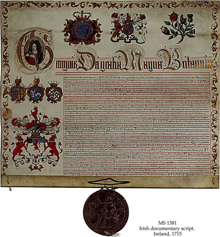 ROYAL LETTERS PATENT UNDER THE GREAT SEAL FOR A GRANT OF ARMS TO GEORGE ST. GEORGE, CONFERRING UPON HIM THE BARONY OF HATLEY IN IRELAND