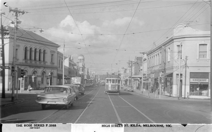 High Street, St Kilda in the late 1950s. Long before the shops on the right…