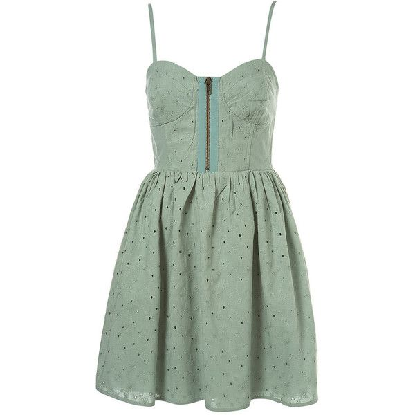 Broidery Cup Sundress ($70) ❤ liked on Polyvore featuring dresses, vestidos, day dresses, short dresses, women, zip dress, zipper mini dress, green sundress, cotton mini dress and green mini dress