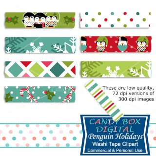 It's beginning to look a lot like Christmas for these holiday penguins! And these digital washi tape are just the thing to make your holiday pictures bright. They can be used in scrapbooks, cards, newsletters, on website and blogs, etc...
