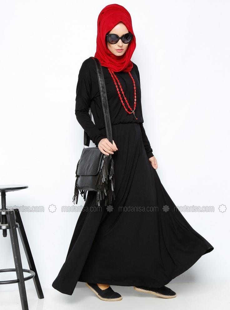 Bat Sleeve Dress - Black - Dresses - Modanisa