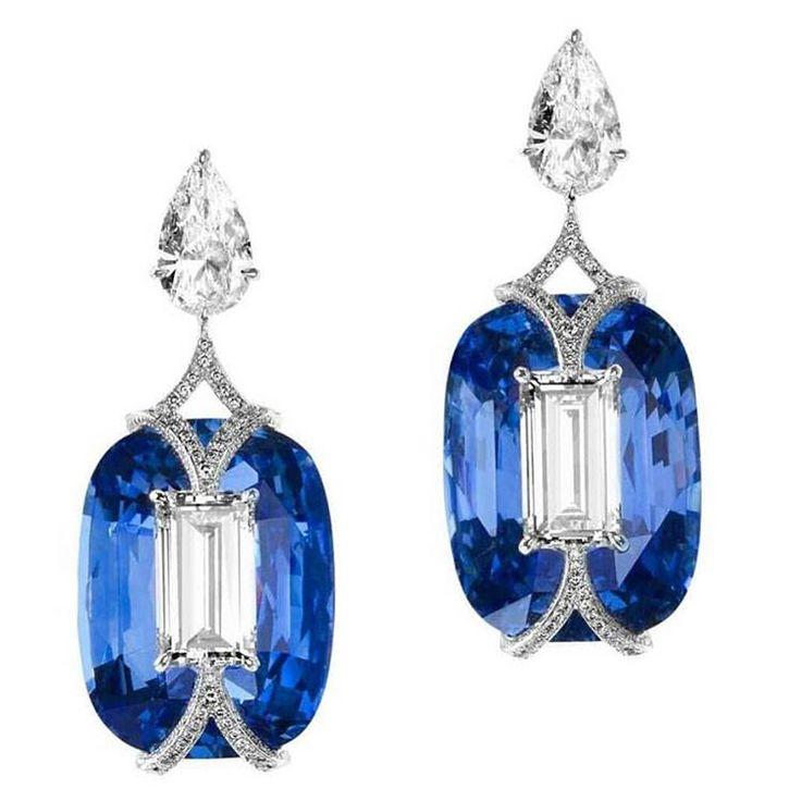 Beautiful Diamond and  Sapphire  earrings