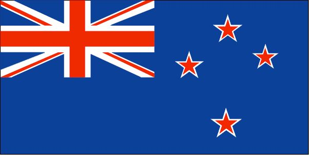 The current flag of New Zealand was officially adopted on June 12, 1902. It includes the British Blue Ensign (upper left), and a representation of the Southern Cross constellation, one that uses only four stars.