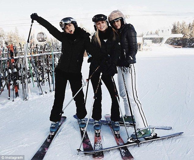 Rich kids: Princess Olympia of Greece (center) spent New Year's in Aspen with friends, inc...