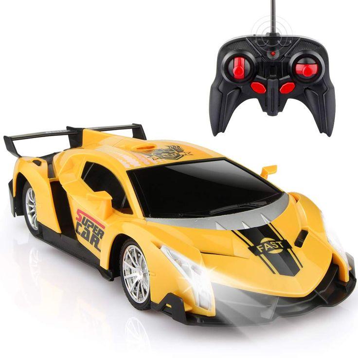 Growsland Ferngesteuertes Auto, RC Cars Weihnachtsgeschenke für Kinder 1/24 Elektro Sport Racing Hobby Spielzeugauto Gelbes Modellfahrzeug für Jungen Mädchen Erwachsene mit Licht und Steuerung – Remote control toys