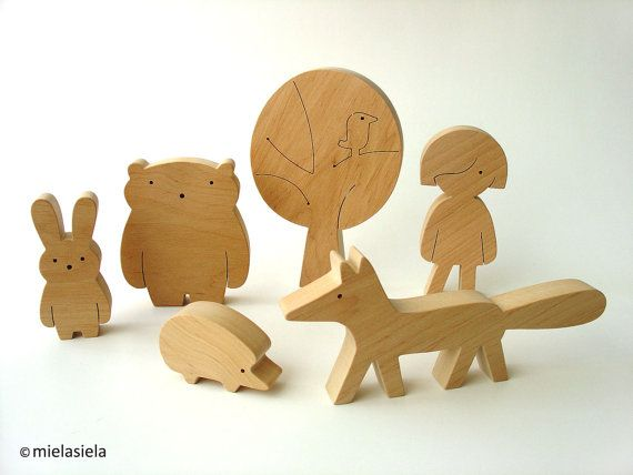 Wooden toy Girl and forest animals Woodland by mielasiela