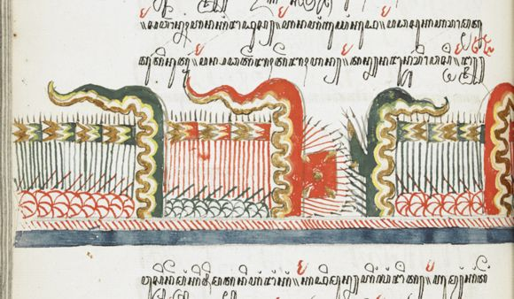 Depiction of a battle scene, described with Javanese lettering, with the two opposing armies with their pennants, gun carriages and lances. - See more at: http://britishlibrary.typepad.co.uk/asian-and-african/2014/08/a-javanese-manuscript-artist-at-work.html#sthash.m22Xh39h.dpuf
