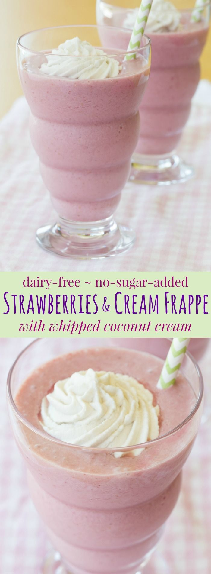 Strawberries and Cream Frappe with Whipped Coconut Cream - a healthier alternative to those fruity frozen drinks from your favorite coffee shop made without added sugar thanks to @wholesomesweet Stevia. #ad