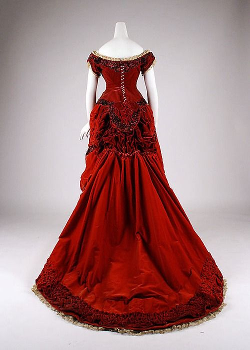Silk ballgown by Elise of Regent St, London  c. 1875  The Met