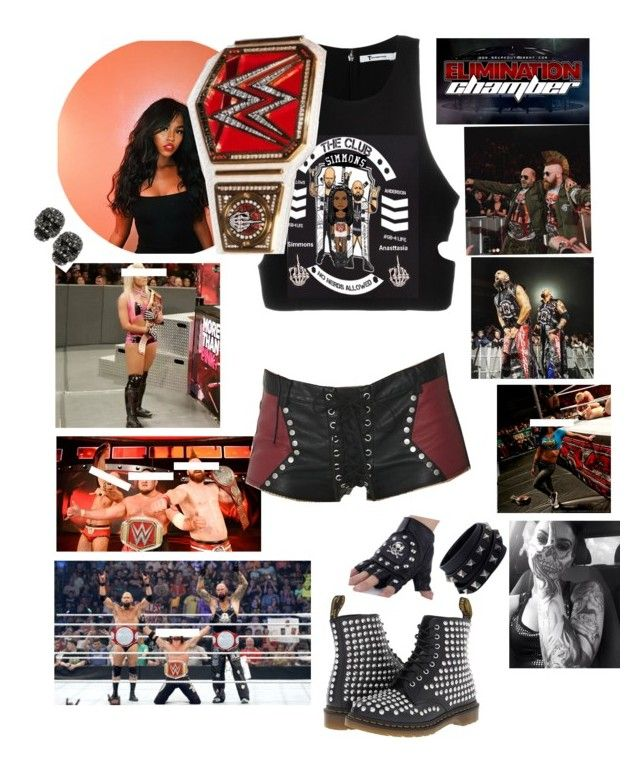 """☠️ Anasttasia ☠️ Elimination Chamber 🔴 Ringside For The Club's match against Sheamus and Cesora for the Tag team championships"" by queenofwrestling ❤ liked on Polyvore featuring T By Alexander Wang, Current Mood, WWE, Betsey Johnson, Dr. Martens and Valentino"