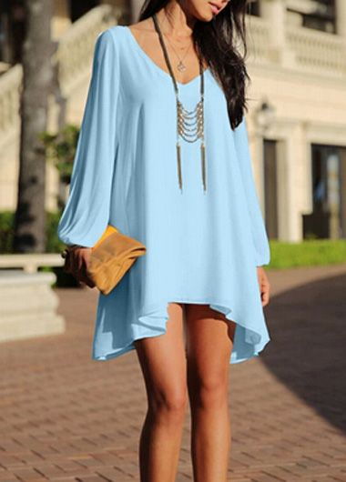 Lantern Sleeve V Neck Blue Mini Dress, $27.60