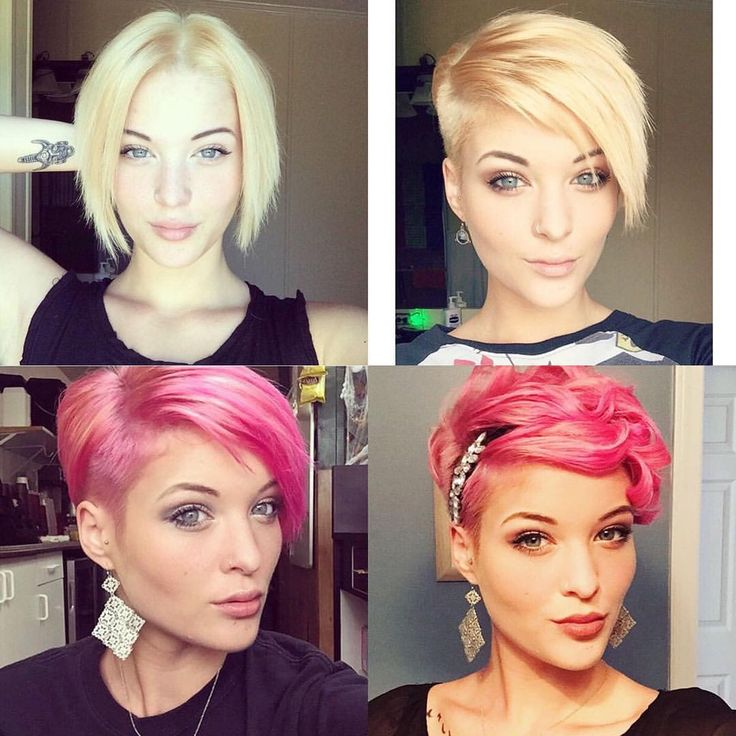 Baily Bullock So cute! Which look is your fave? #pinkpixie #shorthair #undercut #beforeandafter