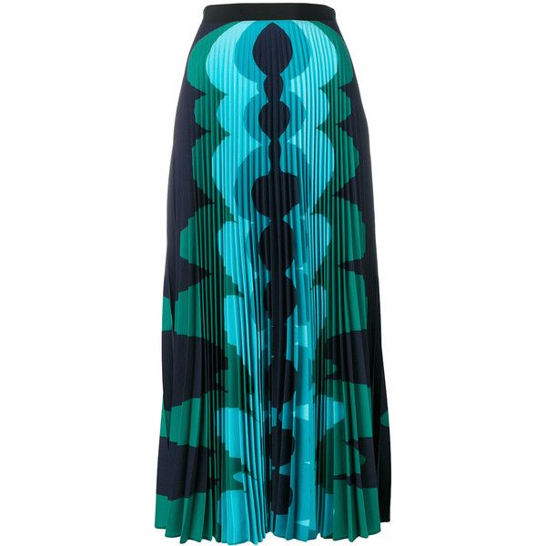 Mary Katrantzou printed pleated maxi skirt (4,730 SAR) ❤ liked on Polyvore featuring skirts, green, long pleated maxi skirt, blue pleated maxi skirt, long green skirt, long skirts and green pleated skirt
