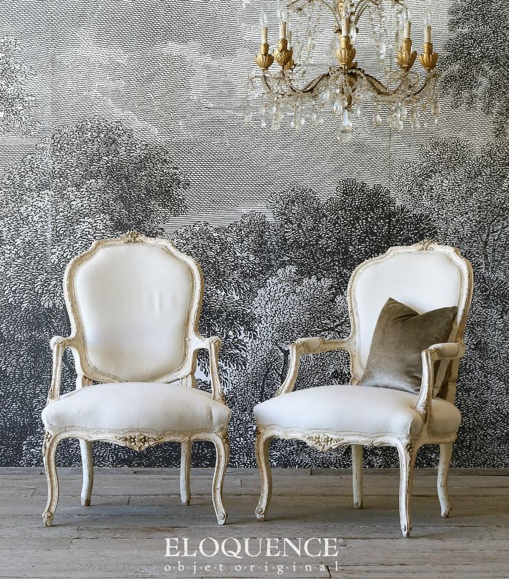 Eloquence One of a Kind Vintage French Style Louis XV Armchairs Pair Eggshell