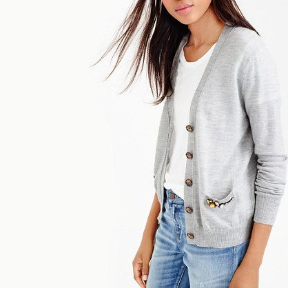 A classic V-neck cardigan with an unexpected detail (hand-applied stones on the pockets). Crafted from our signature merino wool, it's just as soft as it is sparkly.<ul><li>Fitted.</li><li>Hits slightly above hip.</li><li>Merino wool.</li><li>Rib trim at cuffs and hem.</li><li>Dry clean.</li><li>Import.</li></ul>