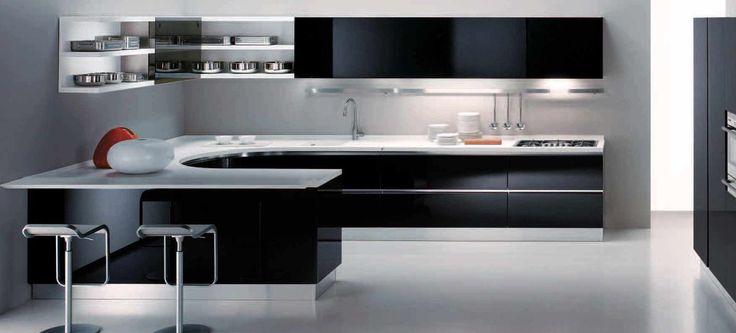 Полки на кухню: смарт-организация кухонного пространства и 75 решений, в которых все на своих местах http://happymodern.ru/polki-na-kuxnyu-foto/ Черно-белые полки на кухне в стиле хай-тек