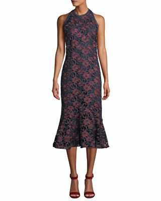 21ec42370b6 Shoshanna Designer Tupper Floral Lace Sleeveless Midi Dress ...